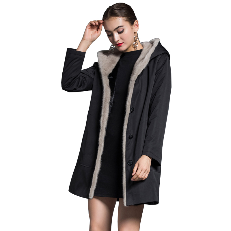 Real Fur Coat Mink Fur Liner Coats Women Clothes 2018 Winter Hooded Long Jacket Korean Vintage Parka Chamarras De Mujer ZL738