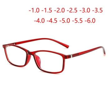 0 -1 -1.5 -2 -2.5 -3.0 To -6.0 نظارات قصر النظر النهائية للجنسين وصفة النظارات البصرية إطار أزرق أحمر شفاف أسود