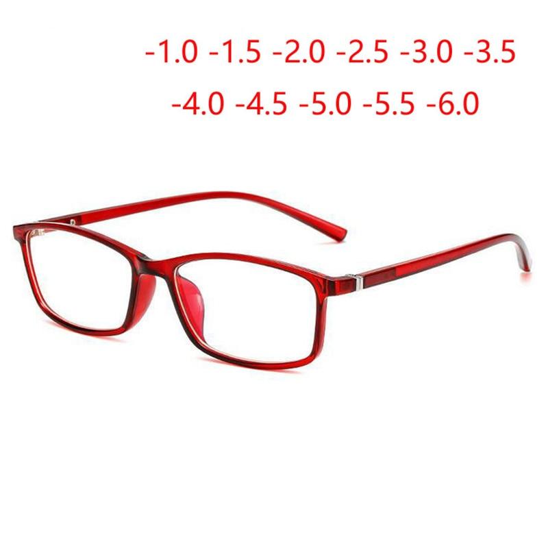 0 -1 -1.5 -2 -2.5 -3.0 To -6.0 Finished Myopia Glasses For Unisex  Optical Prescription Eyewear Blue Red Transparent Black Frame