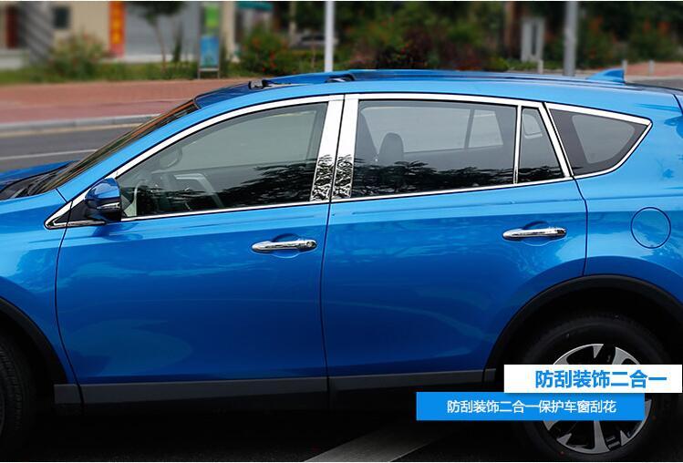 JIOYNG Car Door Full Window Frame Window Sill Molding Trim Cover For TOYOTA RAV4 2014 2015 2016 2017 2018 BY EMS