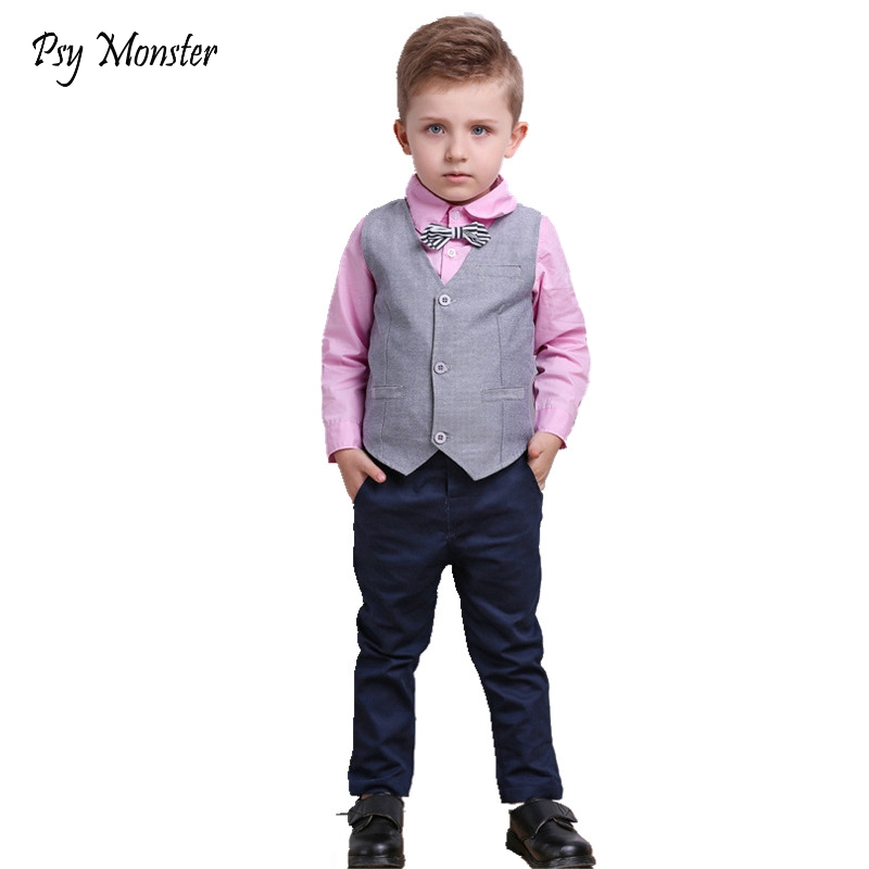 2018 Spring Autumn Children Performance Clothing Sets Kids Suits Boys Gentleman Wedding Formal Suit Vest + Shirt + Pant A23