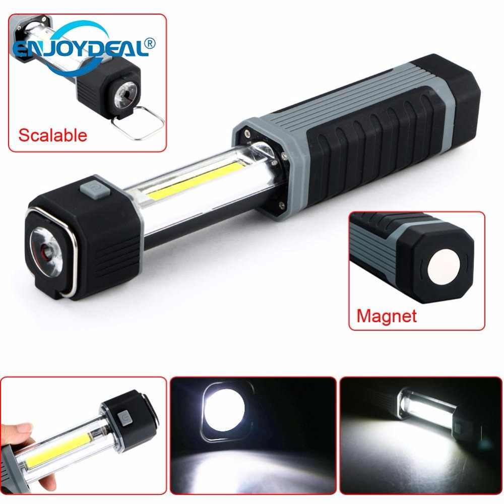 Flashlights 2in1 3W COB LED Stretchable Flashlight Torch work lamp with Strong Magnet For light hunting Fishing Camping Lamp