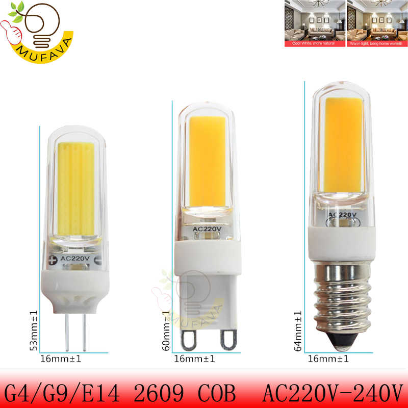 G4 G9 E14 Mini LED Lampada Dimmable COB 9W 6W LED Lights Silicone Crystal Lamps 220V Chandelier Light Warm Cool White Bulbs