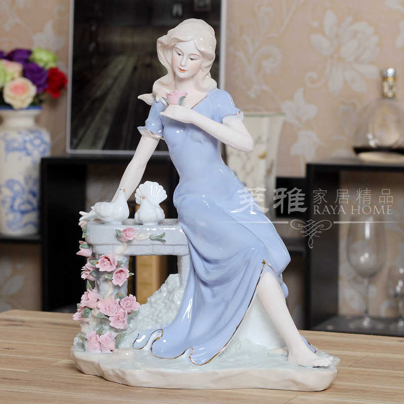 ceramic flowers girl lady figurine home decor crafts room decoration handicraft ornament porcelain figurine vintage statue gifts