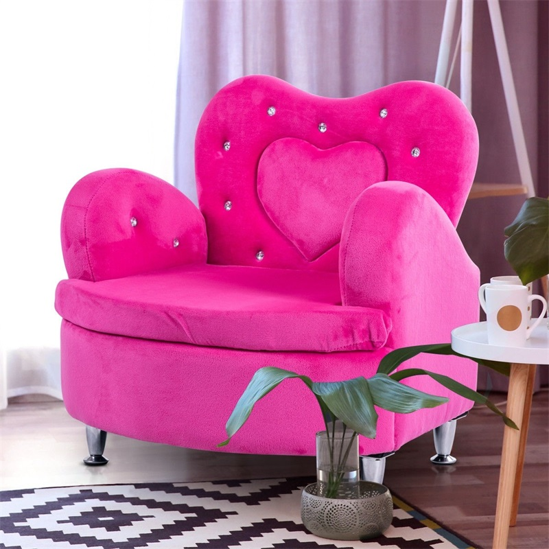 Soft Velvet Armrest Couch Toddler Kids Sofa Rose Children's Velvet Sofas HW57079