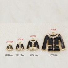 10pcs/lot black white coat Enamel Charm clothes  gold color jewelry jacket with pearls pendants bracelet DIY jewelry Accessories