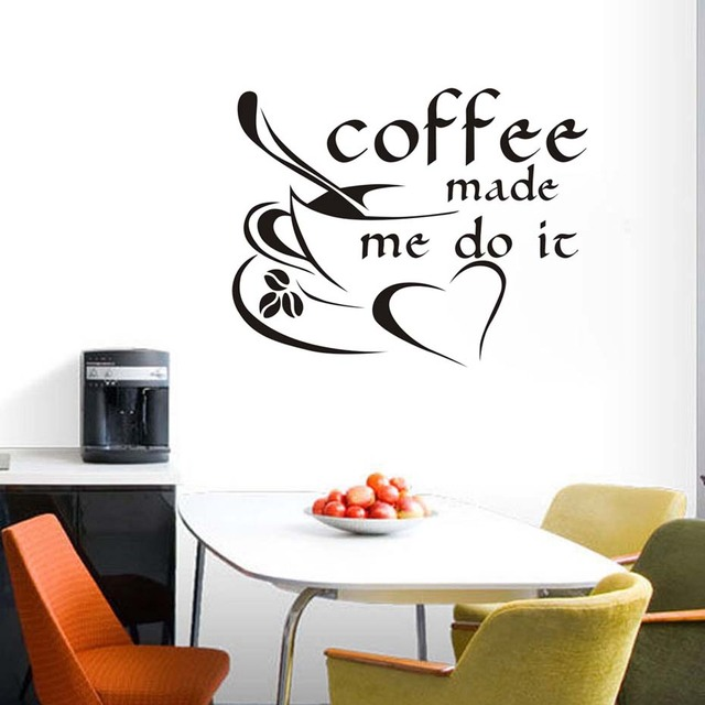 coffee made me do it inspirational quote wall sticker coffee cup