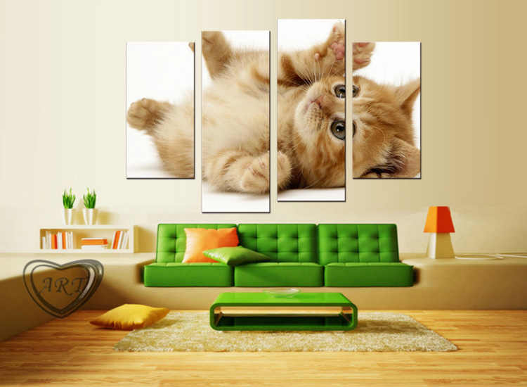4 pieces / set  Modern Animals Pet Cat Quotes Canvas Art Print Poster Nursery Wall Picture Kids Baby Room Decor Painting
