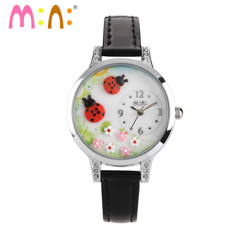 Lovely Clay Ladybug Women Childlike Quartz Watches Romantic Fashion Spring Floral Clock Quartz Analog Relojes Leather NW7054 gift watch for girls lovely clay bear childlike wrist watch imported japan quartz children real leather cartoon relojes nw7052