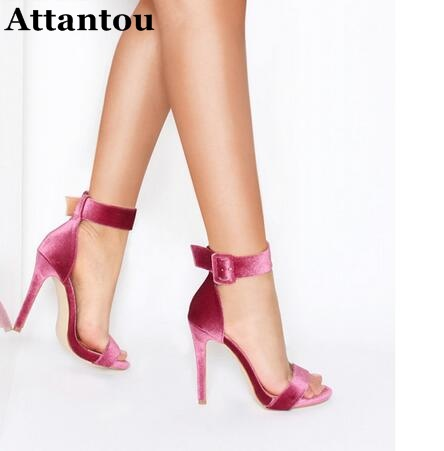 Sexy Velvet Women High Heels Wide Buckle Ankle Strap and Stiletto Heel Wedding Party Shoes Summer Velvet Designer Sandals Woman 2017 new arrival abnormal jeweled heels rhinestone crystal embellished high heel sandals ankle strap lock summer party shoes