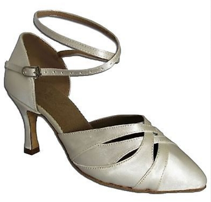 New Free Shipping White Satin Closed Toe Dance Shoe Ballroom Salsa Latin Waltz Tango Bachata Dancing Shoes ALL Size