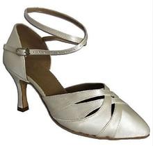 New Free Shipping White Satin Closed Toe Dance Shoe Ballroom Salsa Latin Waltz Tango Bachata Dancing Shoes ALL Size