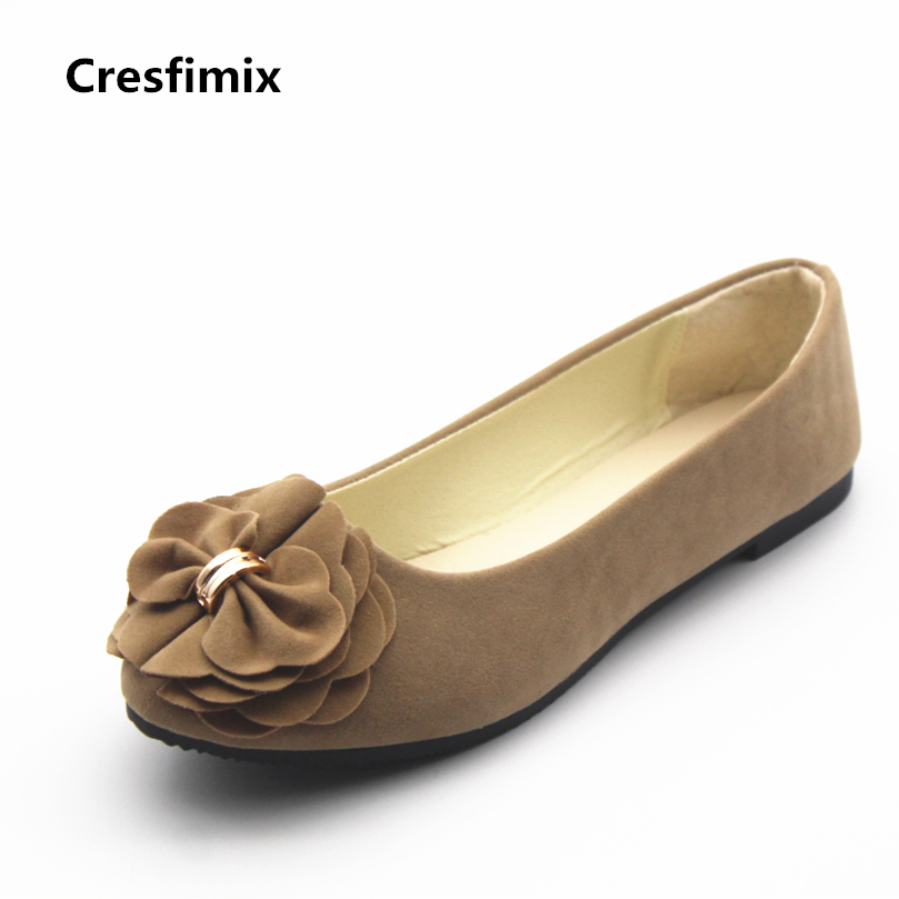 Cresfimix women fashion plus size pu leather flat shoes lady cute flower flats female spring and summer slip on shoes sapatos spring summer flock women flats shoes female round toe casual shoes lady slip on loafers shoes plus size 40 41 42 43 gh8