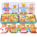 Дети деревянные Магнитные головоломки игрушки симпатичные два плюшевых мишек Planar Туалетная Jigsaw головоломки Игрушки для детей Kawaii Подарок Игрушки CU63