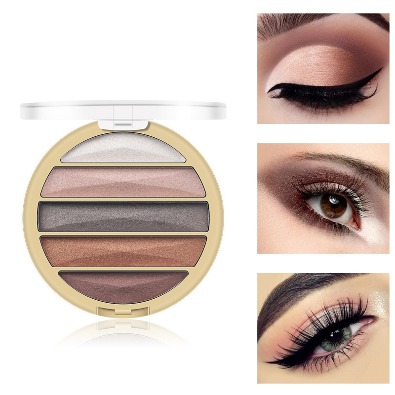 5 Color Gold Pearl Matte Eye Shadow Nude Makeup Earth Color Portable Eye Shadow Tray Eyeshadow Powder