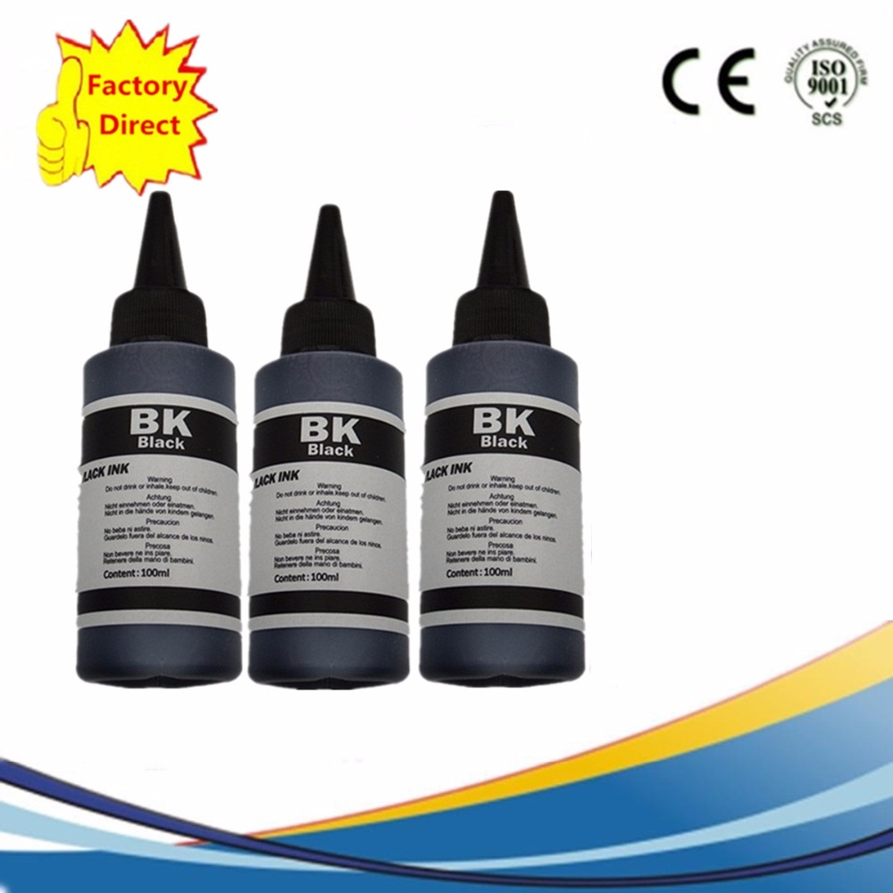 3 x 100ml Specialized Refill dye based Ink Kit For Brother All Printer 3 Black Resistant