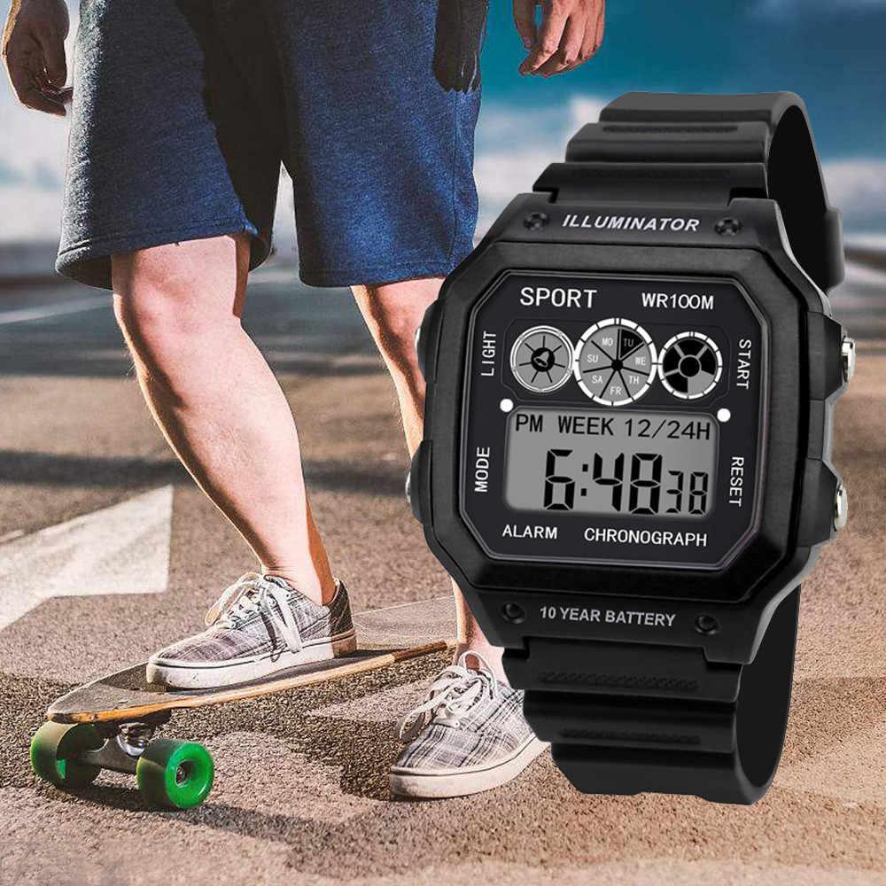 Relogio masculino 2019 นาฬิกานาฬิกาผู้ชายนาฬิกาอิเล็กทรอนิกส์ดิจิตอลจอแสดงผล Retro สไตล์นาฬิกาผู้ชาย Relogio ชาย reloj hombre