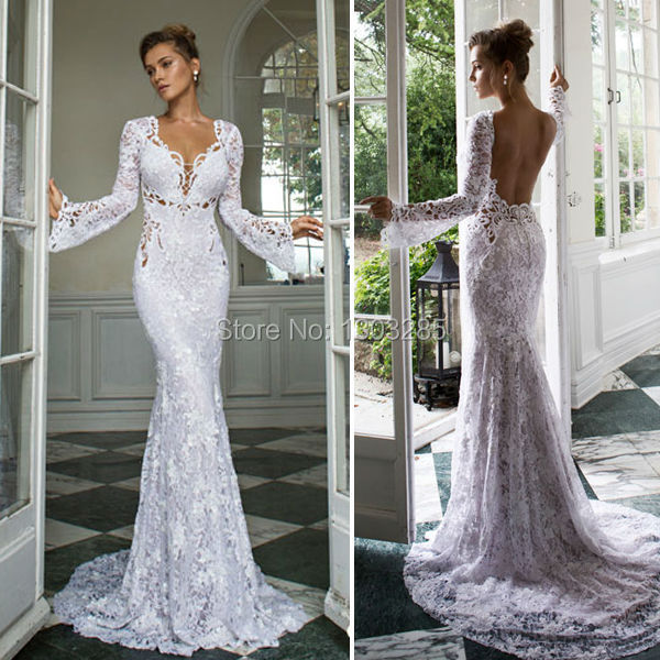 4f251132c66 Sexy V Neck Open Back Natural Waist Court Train White Elegant Mermaid Long  Sleeves Lace Wedding Dresses