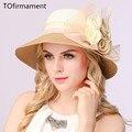 2017 de señora summer sun de la paja sombrero de visera floppy playa floral de las mujeres casquillo de la playa del estilo Europeo flor decration dulce