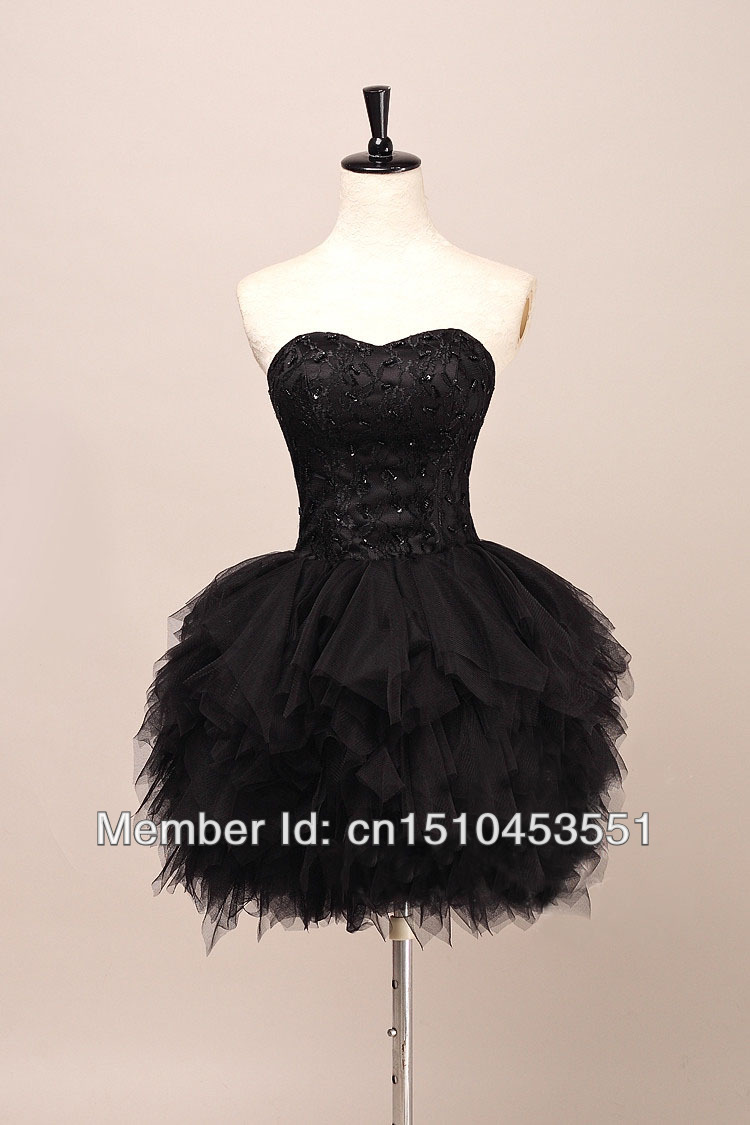 BLACK SWAN black lace beaded bodice tull made feather like short skirt prom dress for wedding