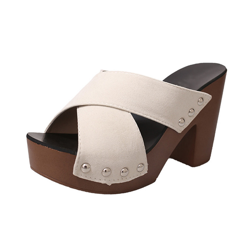 Women Sandals Fashion Superior Quality Comfortable Cross Strap Chunky Heel Women Sandals ...