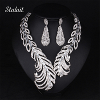 New Style Peacock Feather White Full Rhinestone Short Collar Choker Necklace Big Statement Jewelry Set For Women Party Dress
