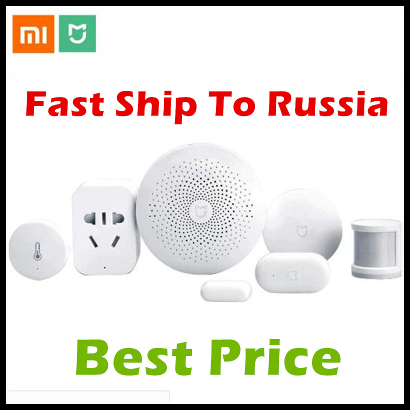 Xiaomi Smart Home Kit Mijia Gateway (Version 2)+Door Window+Temperature Humidity+Human Body Sensor+Wireless Switch+Zigbee Socket new gift box original xiaomi smart home kit gateway door window sensor human body sensor wireless switch zigbee socket sets