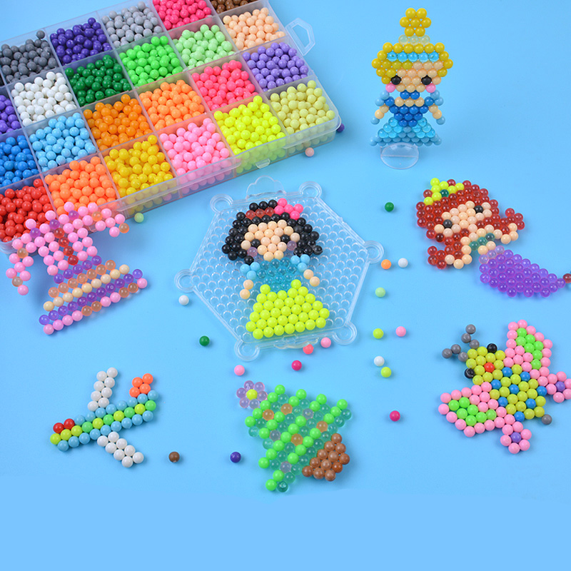 24 Colors aquabeads DIY Water Spray Aqua Magic Beads Hand Making 3D beads Puzzle Educational Toys for Children Kit Ball GameA136
