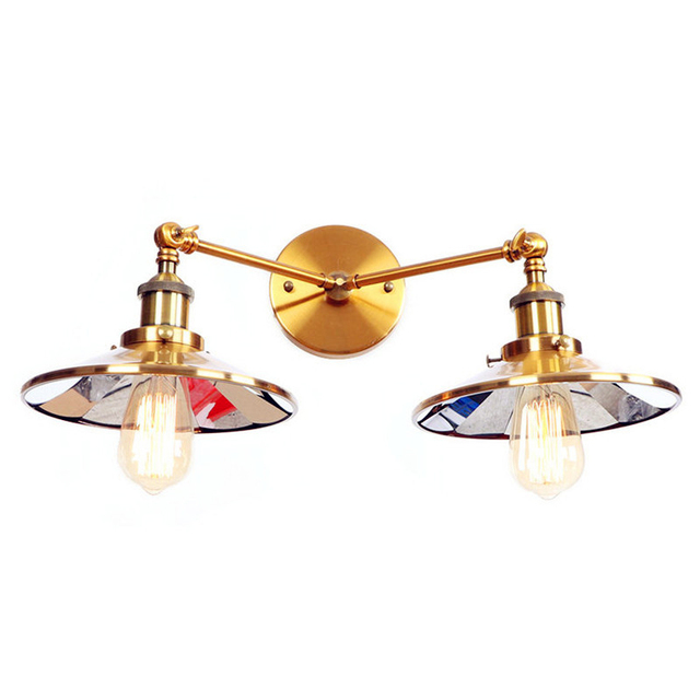 Elegant Golden Vintage Retro Wall Light Fxitures 2 Heads Adjustable Arm Industrial  Wall Lamp Sconce Applique Murale