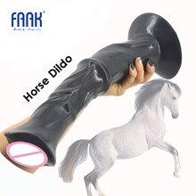 FAAK 13.8 pouces énorme pénis animal cheval gode dick avec forte ventouse nervuré gros jouets sexuels pour les femmes flirter produits sexuels chauds