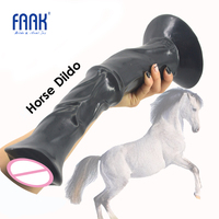 FAAK 13.8 inch huge penis animal horse dildo dick with strong suction cup ribbed big sex toys for women flirt sex products hot
