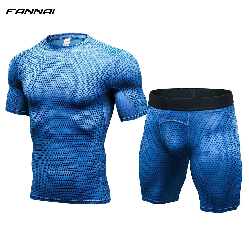 2018 New Fitness Men Compression Running Sets Short Sleeve T Shirt + Shorts Quick Dry Bo ...