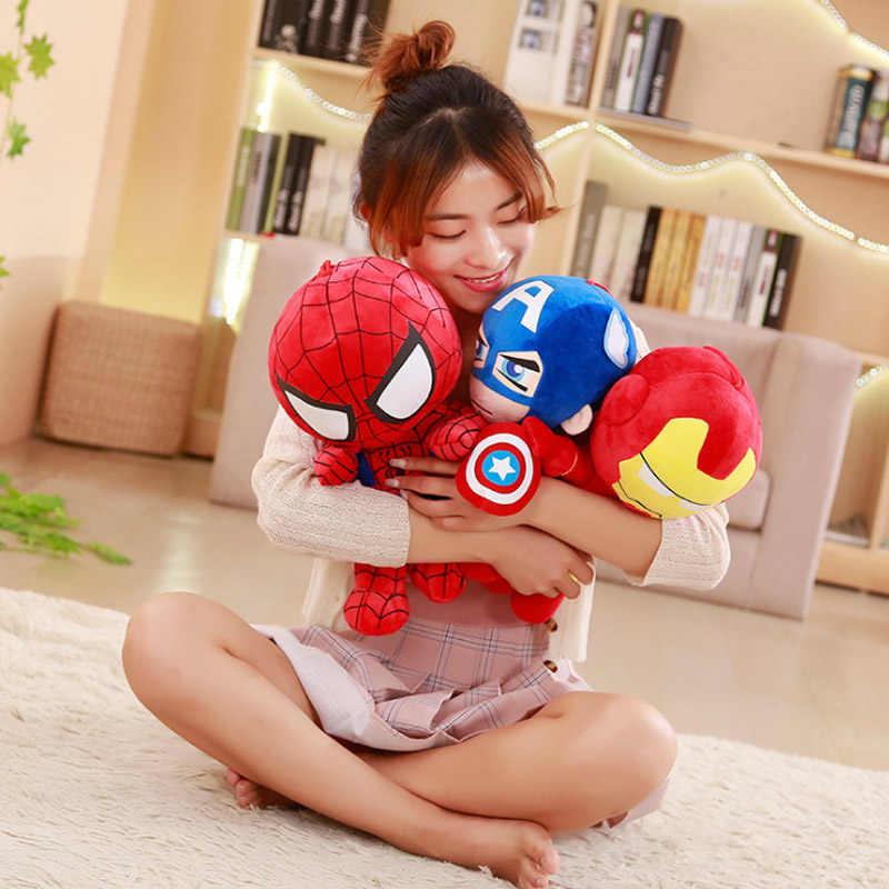 25-45cm marvel avengers 4 final capitão américa homem de ferro spiderman brinquedo de pelúcia macio recheado boneca presente de aniversário para crianças meninos