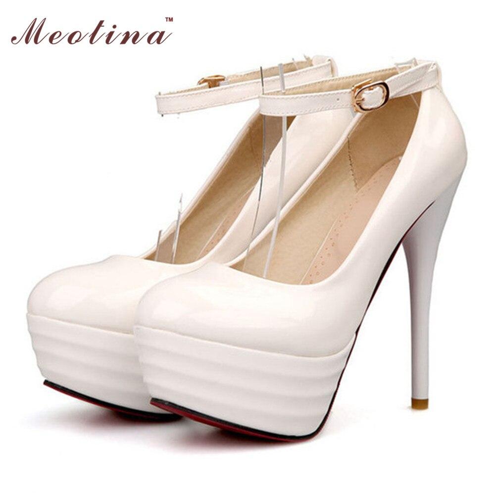 Zapatos blancos de La Boda de Las Mujeres Tacones Altos Extremos Tobillo Correa Zapatos de Plataforma