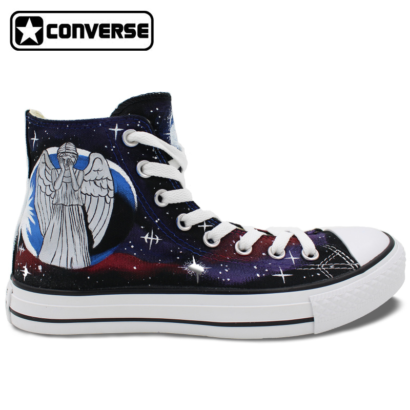 Galaxy Police Box Converse All Star font b Men b font Women Hand Painted Canvas font