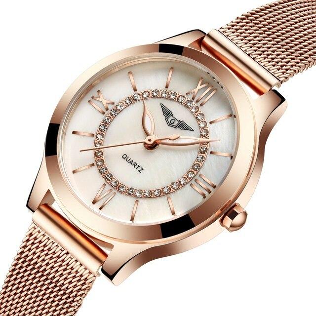 GUANQIN Женщины Часы Моды Случайные Кварцевые Часы Золотой Браслет Женщин Часы Из Нержавеющей Стали Ремешок relogio feminino известный бренд