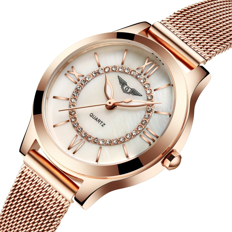 ФОТО GUANQIN Women Watches Fashion Casual Quartz Watch Gold Women Bracelet Watch Stainless Steel Strap relogio feminino famous brand