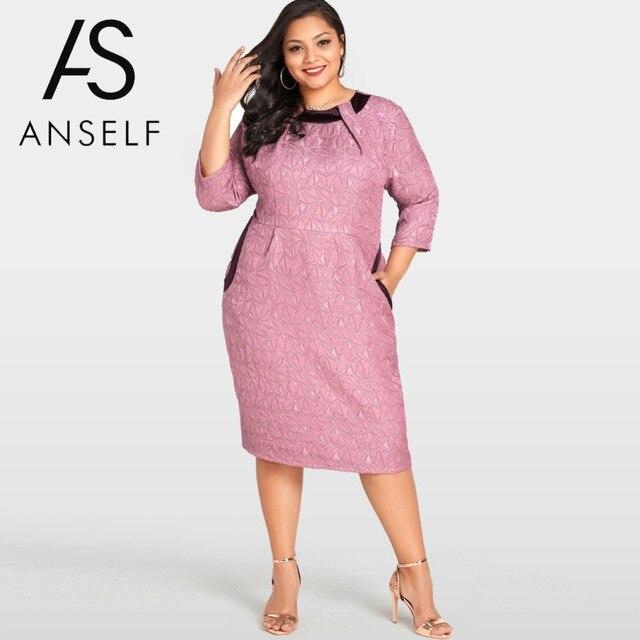 2018 Summer Women Plus Size Bodycon Dress Solid Geometry Elegant