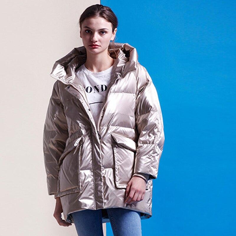 YNZZU 2018 Winter High Street Designer Brand Women's   Down   Jacket Bright Casual 90% Duck   Down     Coat   Loose Pretty Girls Jacket O714