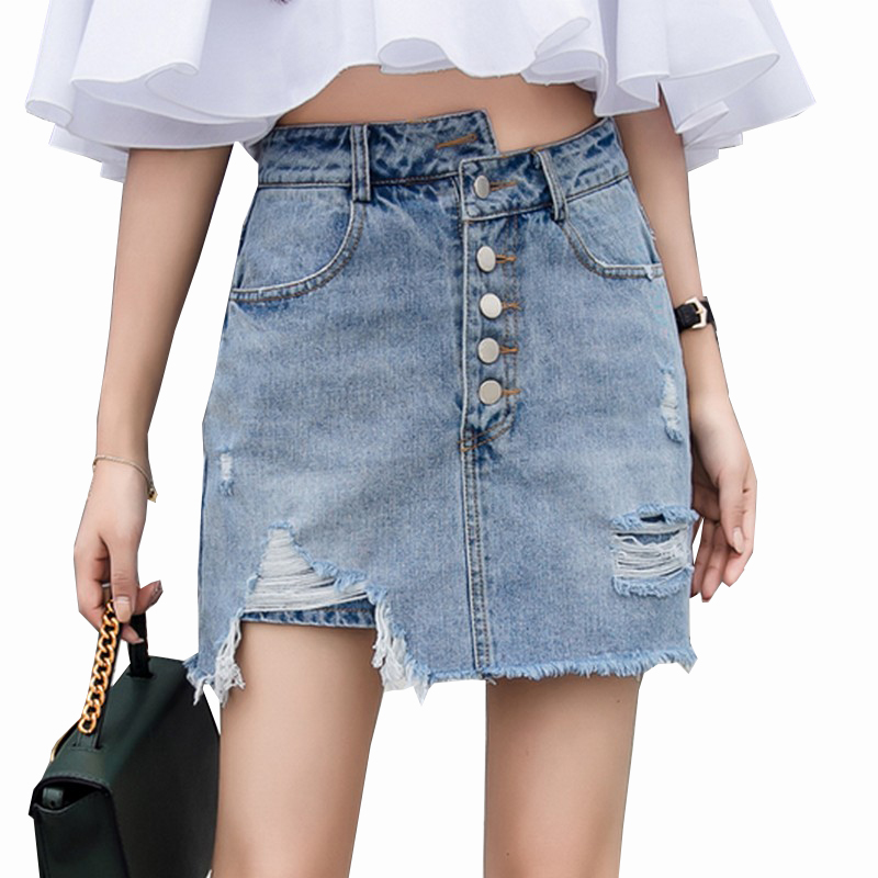 aa142163a45 2019 Summer New Harajuku Do The Old Hole Denim Female Short Skirts Women  Single-breasted