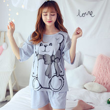 Women Summer Nightwear Girl Pajamas Suits Short Sleeve Shirt+Short Pants Thin Cartoon Bear Lovely Cotton Housewear