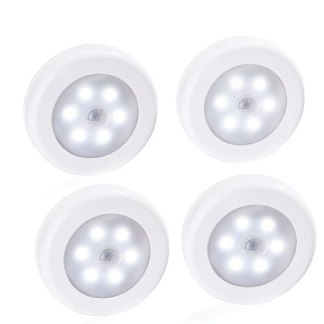 4PCS ledertek Wireless Motion Sensor Light Battery-Powered LED Stick-Anywhere Night Wall Light for Closet, Stairs, Deck, Hallway