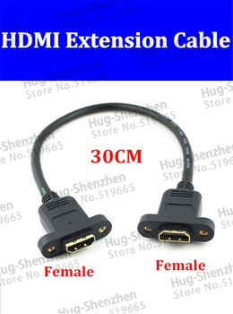 High quality 30pcs 0.3m HDMI male to female panel mount extension Gold plated Cable