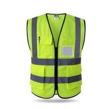 2018 High visibility reflective safety vest reflective vest multi pockets workwear safety waistcoat free shipping