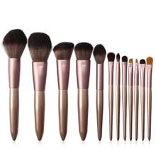 2019 10Pcs Makeup Brushes Set Beige Champagne Handle Face Lip Eye Shadow Eyeliner Wooden
