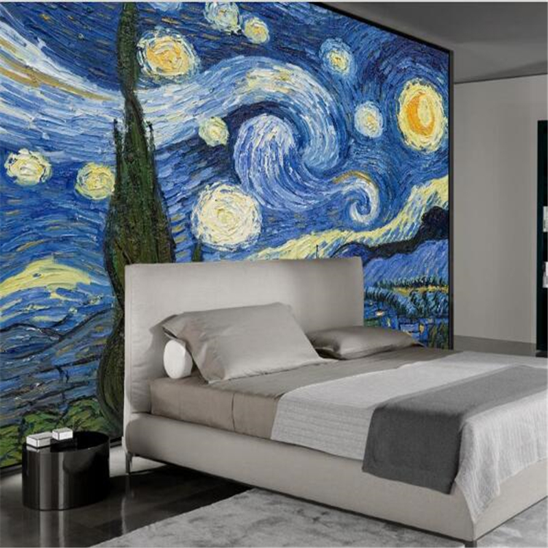 Beibehang Custom Wallpaper 3D European Abstract Oil Painting Van Gogh Star Cafe Decoration Living Room Sofa Background Wall