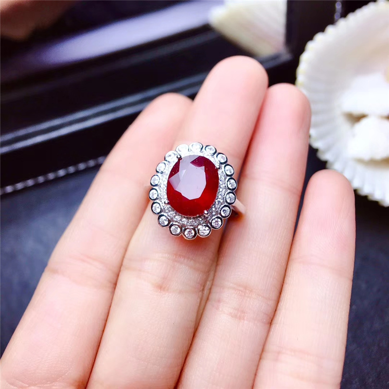 Trendy Elegent Natural Pigeon blood Ruby Rings for Women 8x10mm 3.1Ct Genuine gemstones Fine jewelry 925 Sterling Silver #419