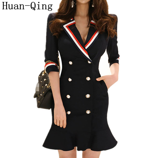 Korean Office Lady Double-breasted Blazers Package Hip Ruffles Dress Summer Women Suit Collar Sexy Bodycon Party Pencil Dresses