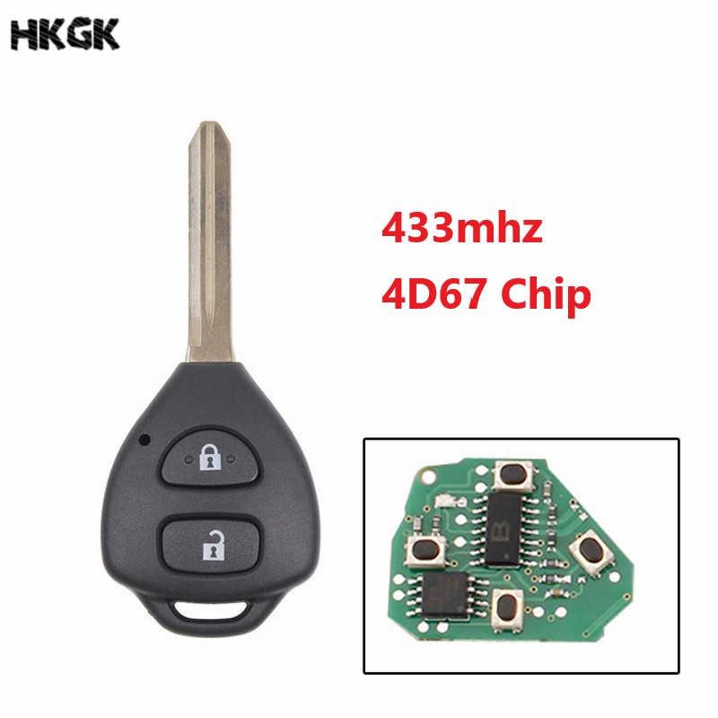 2 כפתורים מרחוק רכב מפתח Fob עבור טויוטה RAV4 2006 2007 2008 2009 2010 433 MHz 4D67 שבב TOY47 להב נימול