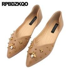 large size ladies beautiful flats shoes stud rivet slip on 9 women 2018  pointed toe latest 12a39de18277